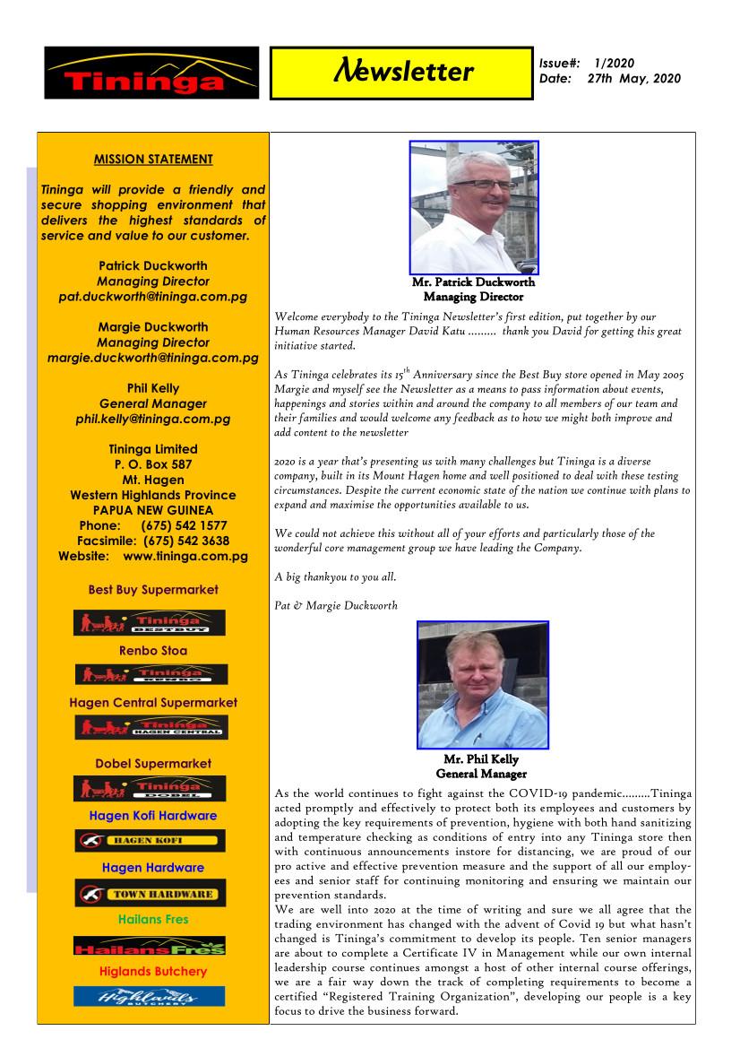 Tininga Newsletter Issue 2020 #1